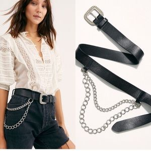 NWT Free People Kennedy Chain Belt Leather  S/M